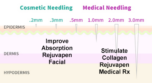 .2-.3mm Needling improve absorption of products and stimulates epidermal turnover, deeper 1-1.5mm Needling stimulates Collagen and Elastin Production.